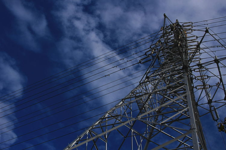 Low Angle View Sky No People Technology Cable Tall - High Transmission Line Tower Transmission Japan
