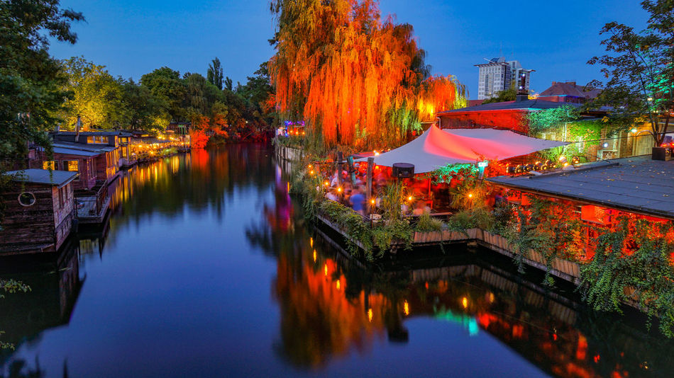 Club Der Visionaere Kreuzberg Treptow Berlin Reflection Tree Water Multi Colored Night River Outdoors Illuminated City Germany Deutschland