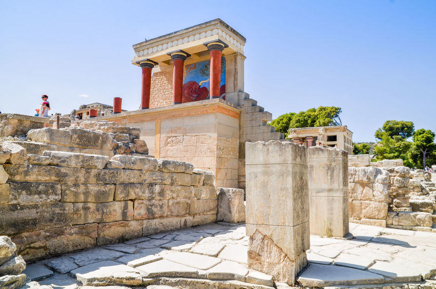 Knossos Temple Knossos Ancient Ancient Civilization Architecture Building Exterior Built Structure Clear Sky Day History No People Old Ruin Outdoors Place Of Worship Sky Sunlight Temple The Past Travel Destinations