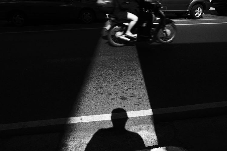 Bnw Blackandwhite AcroS EyeEm Best Shots EyeEm Selects Eyeem Philippines Low Section Men Shadow Road Focus On Shadow Road Marking Asphalt Roadways White Line Country Road Long Shadow - Shadow Riding Dividing Line The Art Of Street Photography