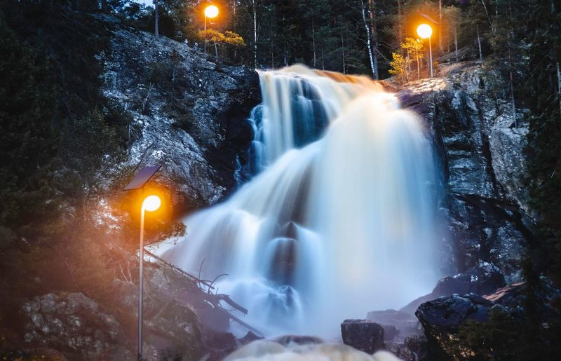 Long exposure of waterfall at night