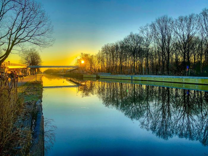 Golden and Blue sunrise or sunset sky reflected in the water of the river or canal which is lined by bare trees and their reflection in the water Water Reflection Sky Tree Nature Scenics - Nature Plant Sunset Beauty In Nature Tranquility No People Lake Tranquil Scene Idyllic Outdoors Waterfront Day Standing Water