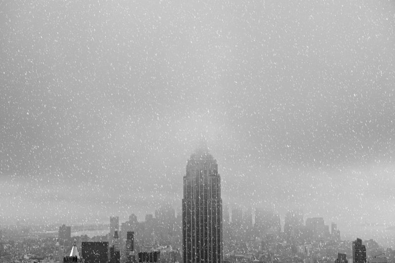 Empire State Building Against Sky In City During Winter