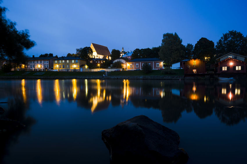 Old town of Porvoo, Finland Church Finland Old Town Touristic Travel Architecture Building Built Structure Clear Sky Historic Illuminated Landmark Night No People Old Outdoors Porvoo Reflection Sky Tourism Travel Destinations Viewpoint Visitfinland Water