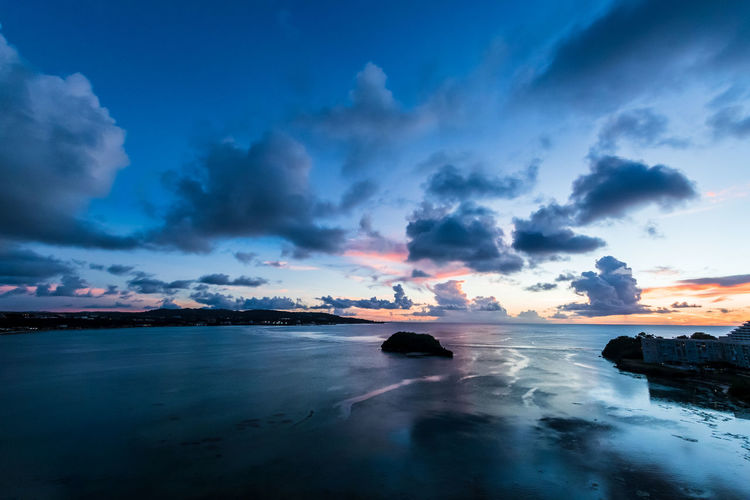 Cloud - Sky Sky Scenics - Nature Water Beauty In Nature Sea Tranquility Tranquil Scene Idyllic Sunset Nature No People Non-urban Scene Dramatic Sky Horizon Over Water Land Long Exposure Beach Outdoors Guam Blue Island