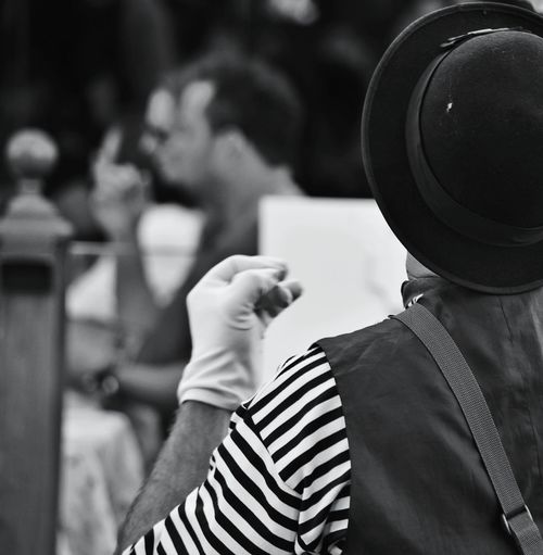 Rear View Of Mime On Street