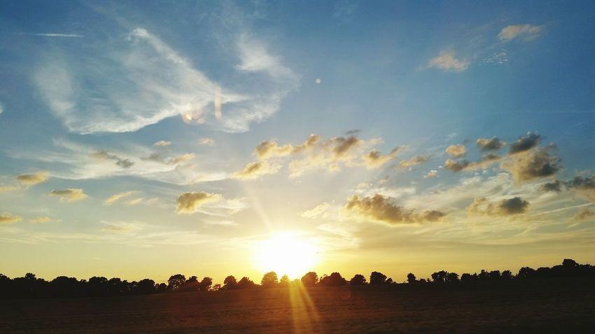 Sunset Sunlight Summer Blue Sky Landscape Cloud - Sky Dramatic Sky Farmland