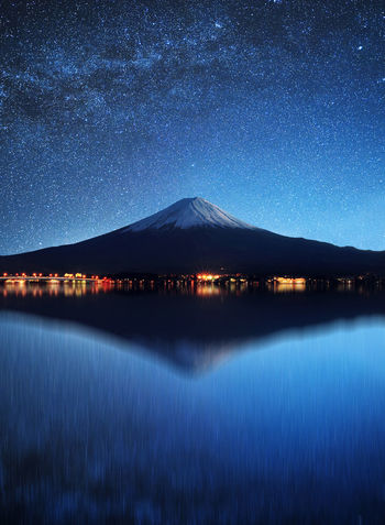 Astronomy Beauty In Nature Blue Clear Sky Galaxy Illuminated Lake Mountain Nature Night No People Outdoors Reflection Scenics Sky Snow Star - Space Star Field Tranquil Scene Tranquility Water Waterfront