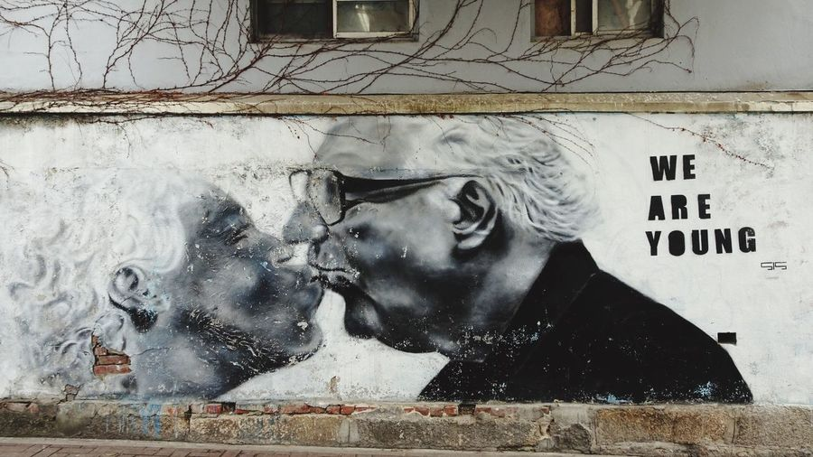 We Are Young An Elderly Couple Graffiti Art Art And Craft Creativity Outdoors