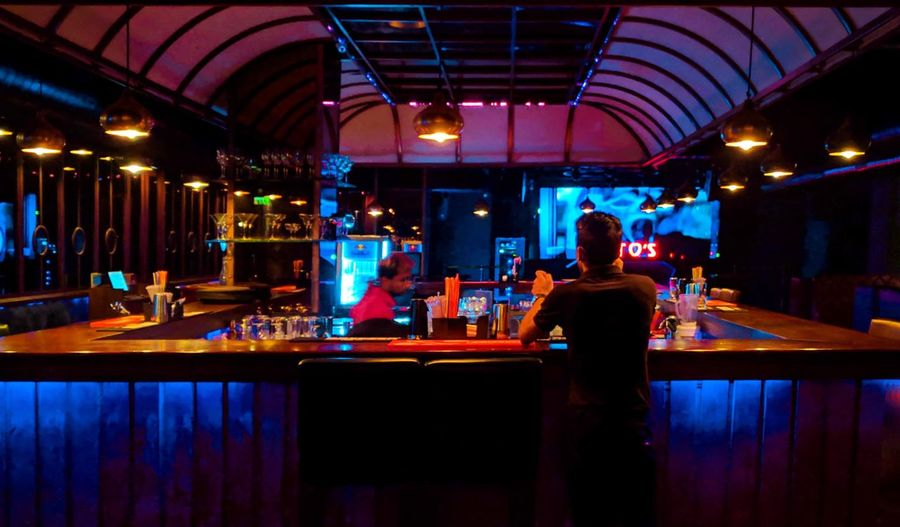 Happy Hour Nightclub Bartender Nightlife Party - Social Event Clubbing Alcohol Bar - Drink Establishment Illuminated Sitting