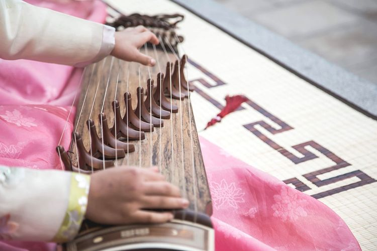 Korean Traditional Music  Gayageum Korean Traditional Clothes Hanbok Seoul South Korea Daily Hand Day
