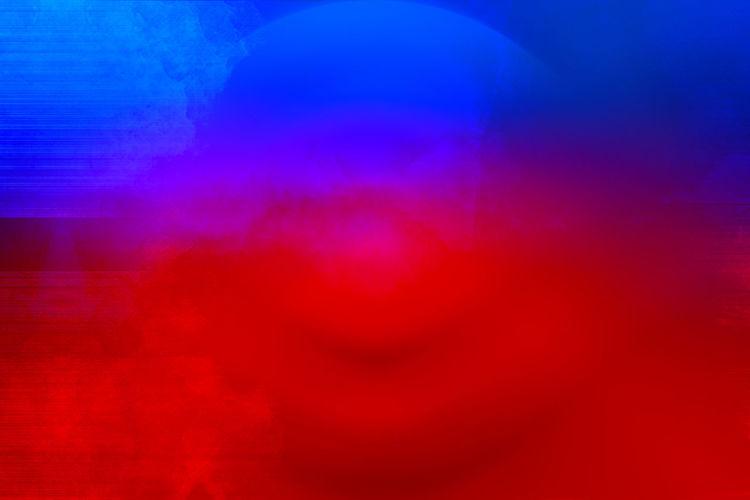 Digital composite image of illuminated red light