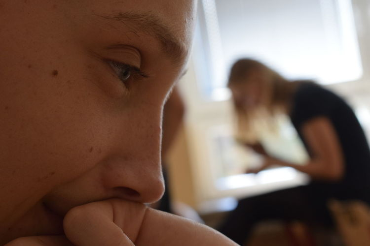 Close-up of thoughtful person