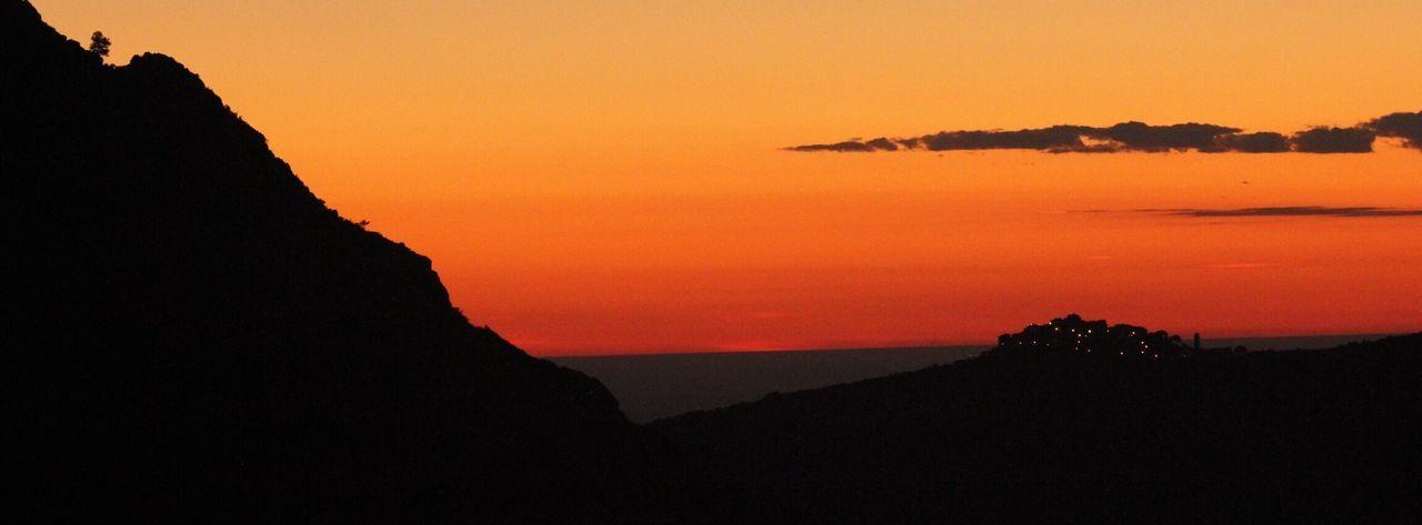 Corsican sunset Sunset Orange Color Red Mountain Village Lights Village Lights Silhouette Sun Summer Sundowners View Corsica Speloncato Sea Ocean Corse France France 🇫🇷 France🇫🇷