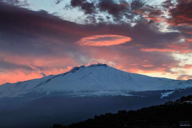 Catania Mountain Beauty In Nature Sky Scenics - Nature Snow Cloud - Sky Tranquil Scene Cold Temperature Winter Mountain Peak Landscape Sunset Volcano Snowcapped Mountain Environment Tranquility Non-urban Scene Idyllic No People Outdoors Volcanic Crater