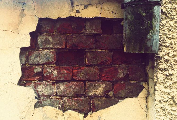 Кирпичная стена. Красота распада город Beauty Of Decay Urban Architecture Close-up No People