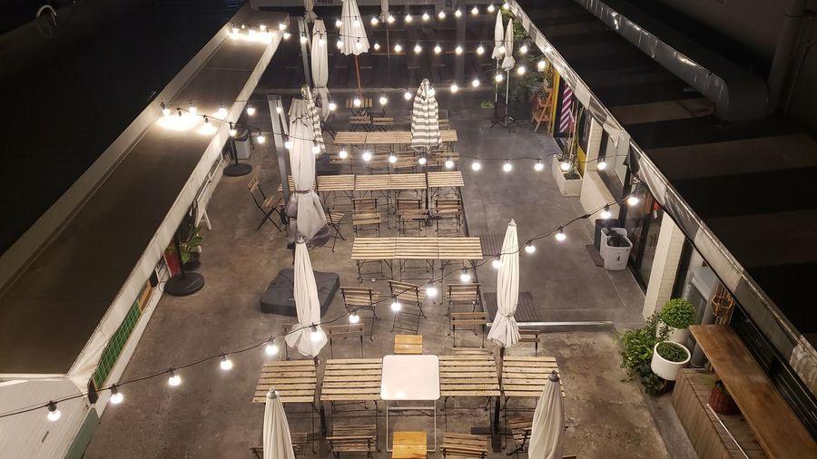 High angle view of illuminated staircase at night