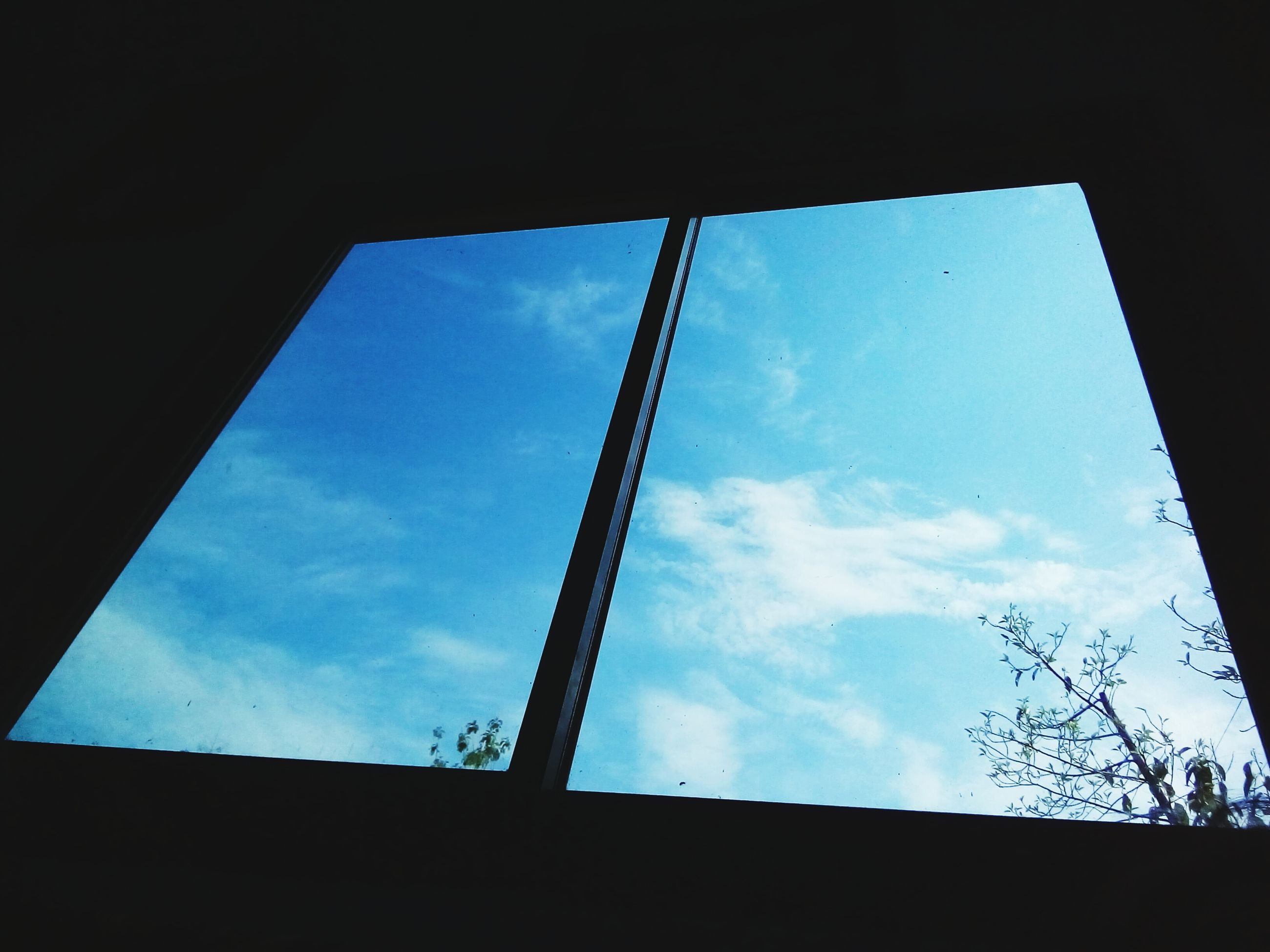 low angle view, sky, built structure, architecture, window, silhouette, indoors, cloud - sky, building exterior, cloud, glass - material, blue, day, building, no people, directly below, house, tree, high section