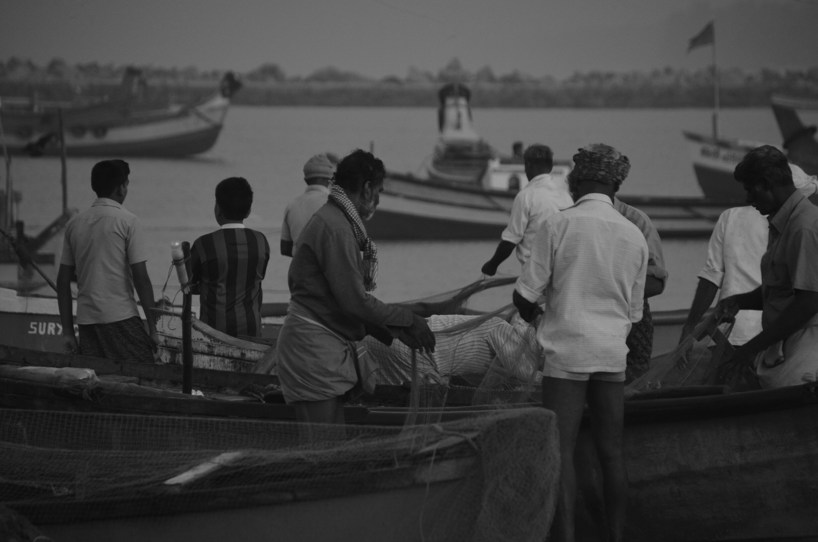 nautical vessel, men, transportation, water, mode of transport, boat, sea, lifestyles, leisure activity, rear view, moored, focus on foreground, sitting, person, occupation, outdoors, bird