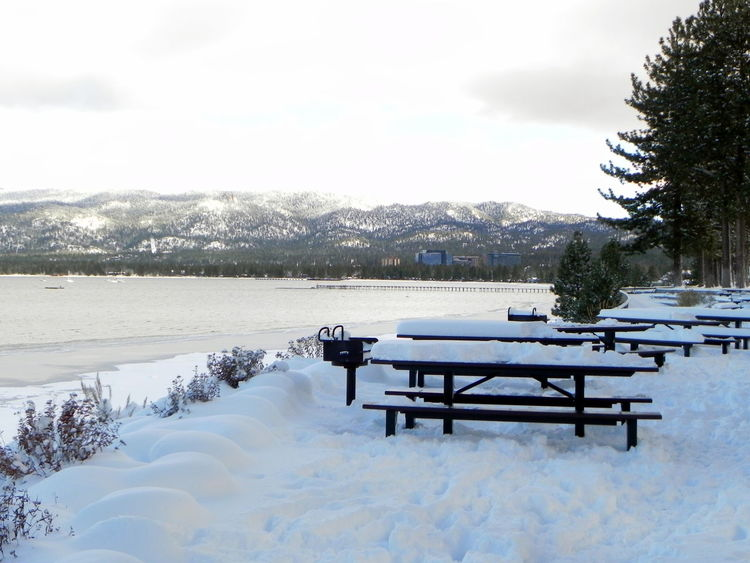 Beauty In Nature Cold Temperature Day Landscape_photography Nature No People Outdoors Sky Snow Snow Covered Mountain Snow Covered Picnic Benches Tranquility Tree Weather Winter