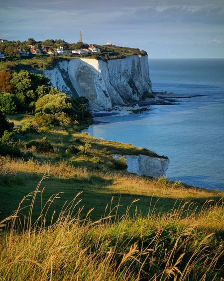 English Channel Beauty In Nature Cliff Day England Grass Horizon Over Water Nature No People Outdoors Rock - Object Scenics Sea Sky Tranquil Scene Tranquility Water White Cliffs Of Dover First Eyeem Photo