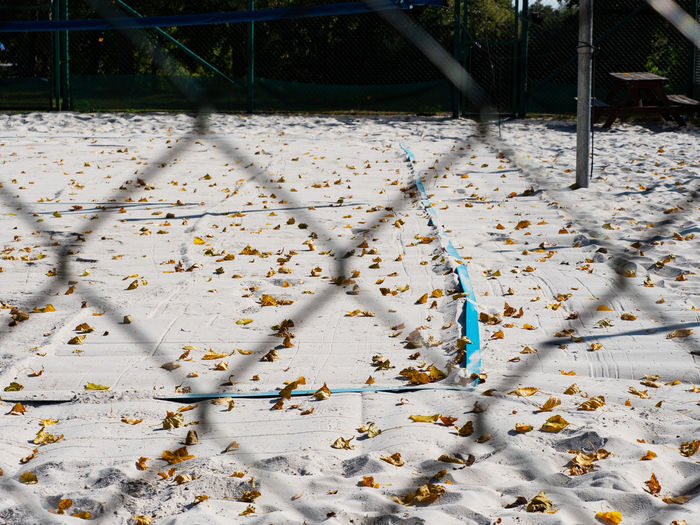 Beach volleyball court in a park in the autumn. end of summer