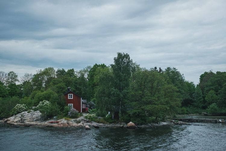 Architecture Beauty In Nature Boathouse Built Structure Cloud - Sky Day Green Color Nature Nautical Vessel No People Outdoors River Scenics Sky Stockholm Archipelago Tranquility Tree Water Waterfront