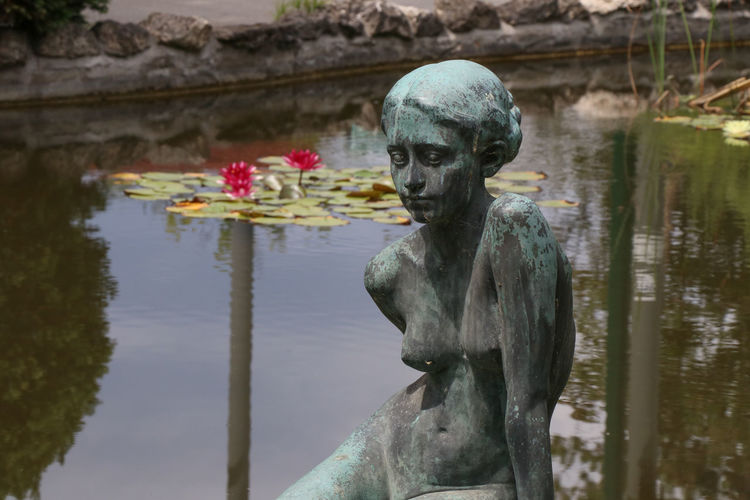 Sculpture in a pond Architecture Art And Craft Craft Creativity Day Focus On Foreground Human Representation Lake Male Likeness Nature No People Outdoors Plant Reflection Representation Sculpture Solid Statue Water