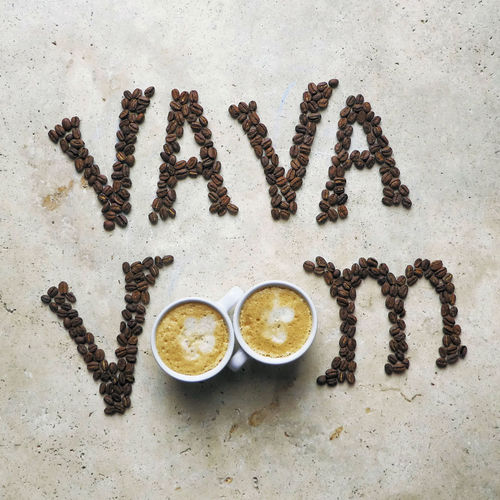 va va voom Coffee Breakfast Food Still Life Drink Espresso Lifestyle Hot Drink Cappuccino Latte Mug Cup Mood Food And Drink Words Crockery Text Coffee Art Indoors  Beans Communication Coffee Cup Freshness Refreshment Coffee Beans Vibes No People EyeEm Best Shots Flatlay Studio Shot Directly Above Western Script Coffee - Drink Stone Material Single Word Coffee Bean Art Coffee Words Indoors