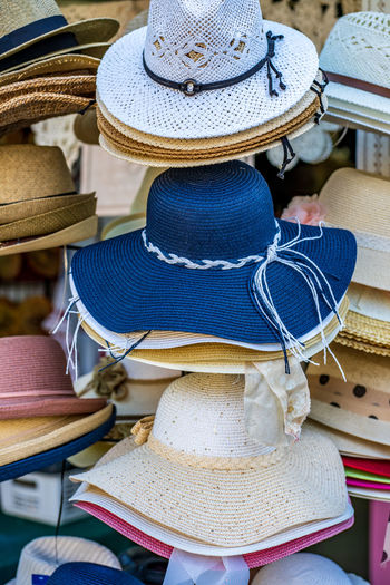 Hats for sale at market stall
