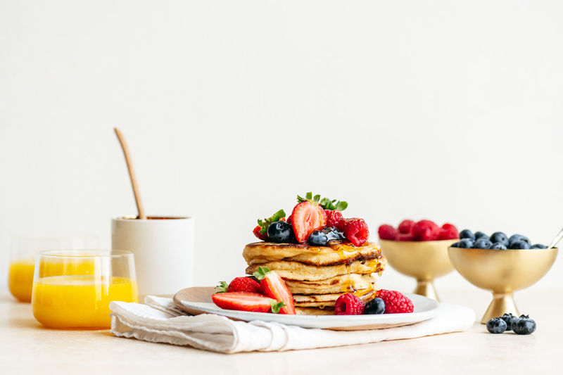 Close-up of breakfast on table against white background