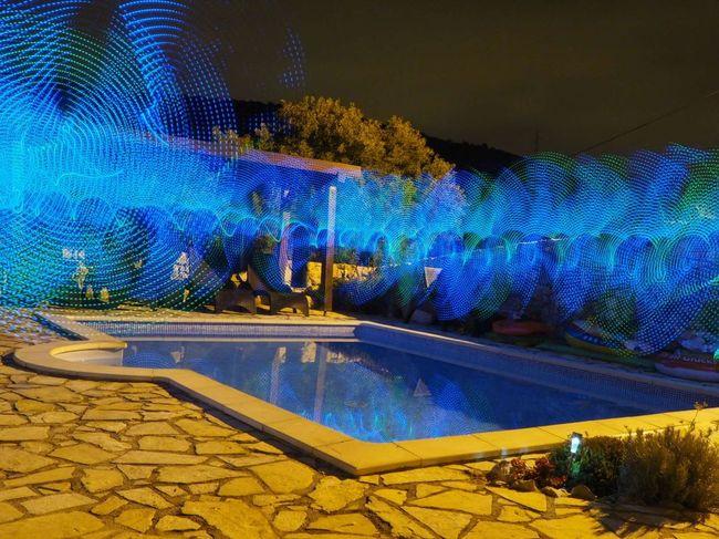 Pool Pool Time Poolside Illuminated Blue Water Tree Pixelated Light Trail Coast Wire Wool Vehicle Light Light Painting Mosaic Long Exposure