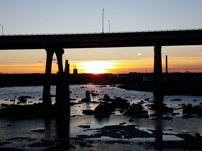 Under the Bridge Sunrise Sunset Silhouette Reflection Business Finance And Industry Orange Color Sunlight Sky Tranquility Nature People Outdoors Scenics Beauty In Nature Rural Scene Water One Person Healthy Lifestyle Landscape Horizon Over Water Only Men