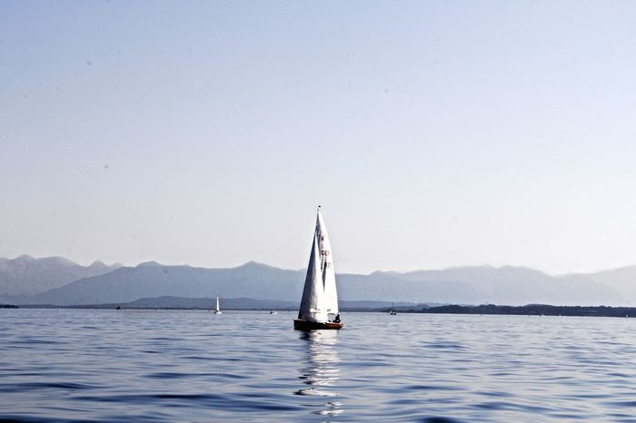 Sailing in peace and tranquility Alpen Alpenflora Bavaria Bavarian Alps Lake Mountain Sailboat Sailing Sailing Boat Segeln Starnbergersee Tranquility Water Zugspitze