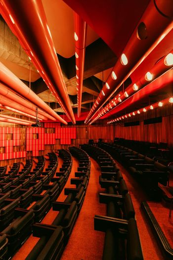 Red brutalism Loewe7 Berlin Brutalist Architecture Brutalism Indoors  Architecture Built Structure No People Empty Seat The Architect - 2018 EyeEm Awards