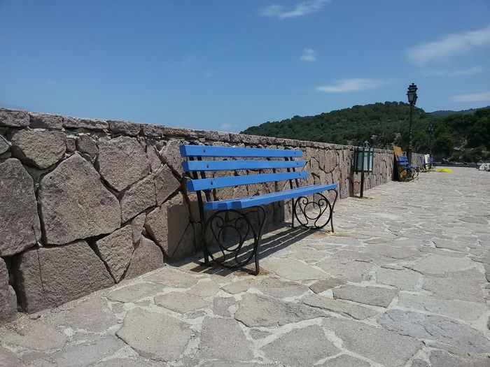 Harbour View Fishermanvillage No People Outdoors Blue Greece Lesbos Lesbos Island Bench
