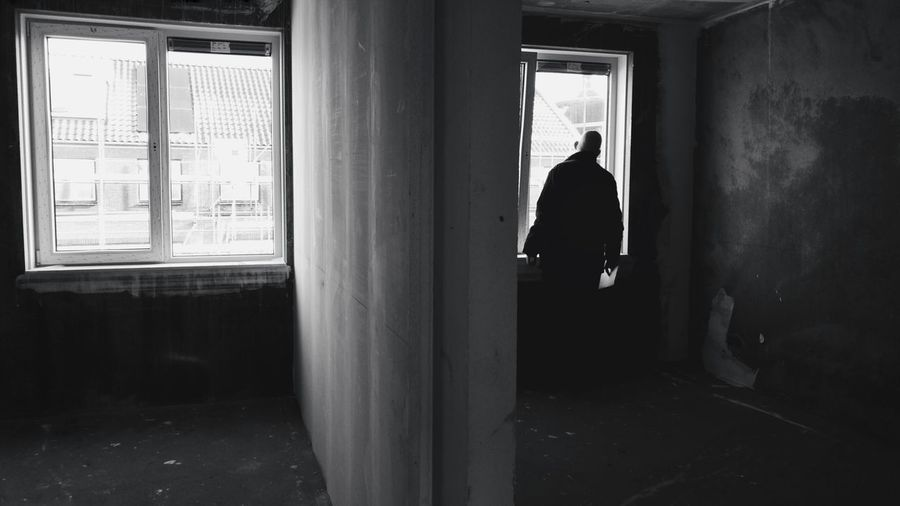 Window Indoors  Day People Adult One Person Only Men Adults Only One Man Only Wall - Building Feature Bw_collection Black And White Blackandwhite Monochrome Silhouette Light And Shadow Welcome To Black Long Goodbye Breathing Space Investing In Quality Of Life EyeEm Ready