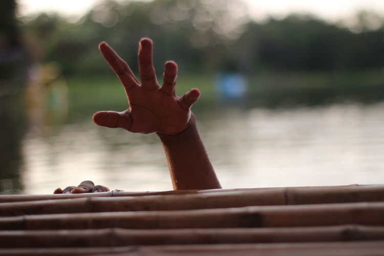 Cropped hands of person on wooden raft