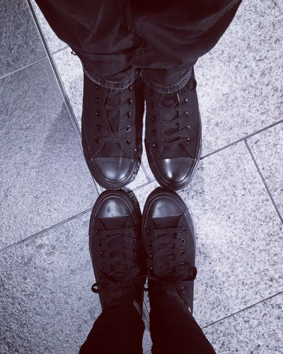 His and hers Hisandhers Black Blackandwhite Photography Blackandwhite Photography Picoftheday EyeEm One Person Standing Real People Low Section Human Body Part Body Part Lifestyles High Angle View Human Leg Personal Perspective Men Shoe Adult Day Wet Human Limb Human Foot Footpath Outdoors Limb