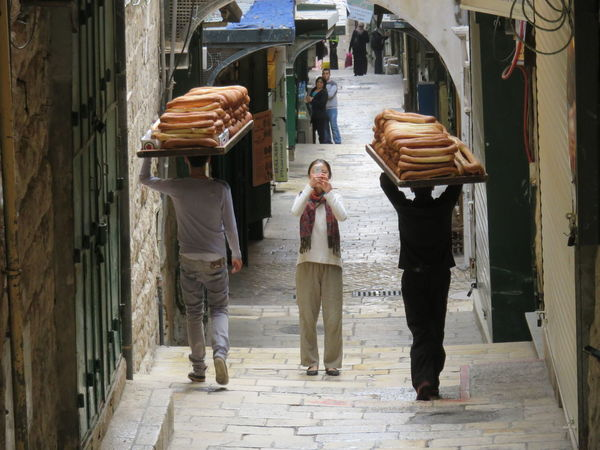 characteristic of the bread delivery in Jerusalem Bagel Bread Delivery Delivery Food Israel Middle Old Town Outdoors Retail  Shop Shot Street Tourist Traditional Young Adult The Week On Eyem