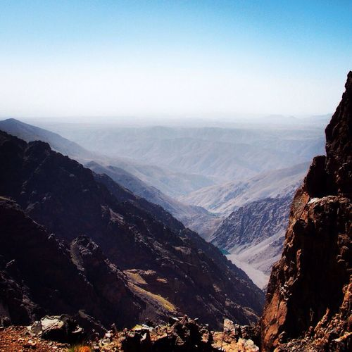 High angle view of atlas mountains against clear sky
