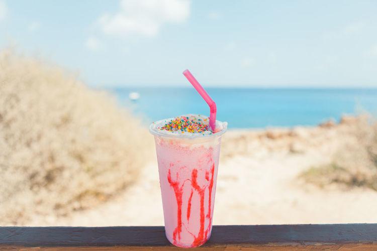 Close-up of milkshake
