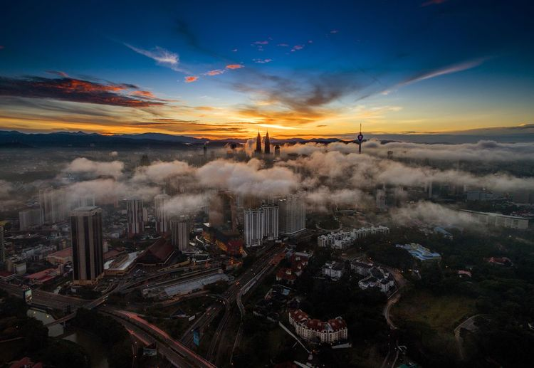 Aerial view of kuala lumpur city during sunrise Aerial Photography Aerial Shot Aerialphotography Aerial View Aerial Drone  Droneshot Sunrise Kuala Lumpur Malaysia  KLCC Tower KLCC Twin Towers Malaysia Landscape Cityscapes City City Lights A Bird's Eye View