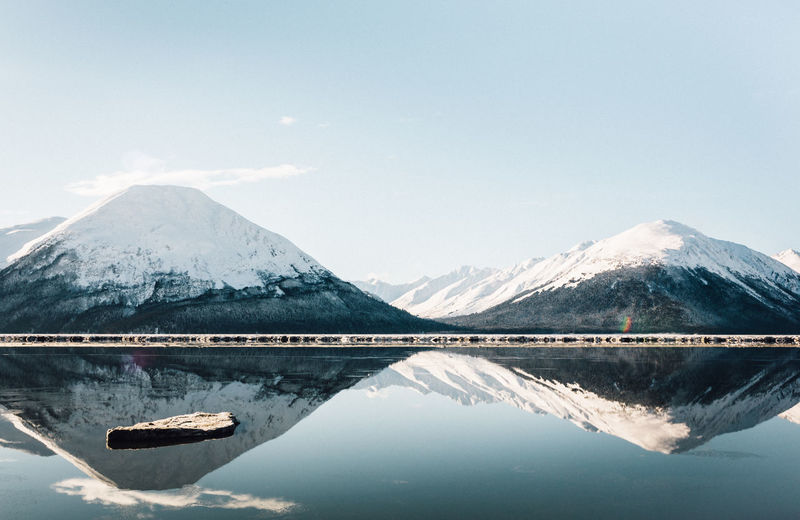 Snowcapped mountains reflecting on calm lake