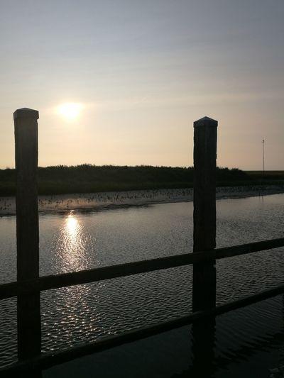 Water Sunset Lake Reflection Silhouette Sunlight Sun Rural Scene Sky