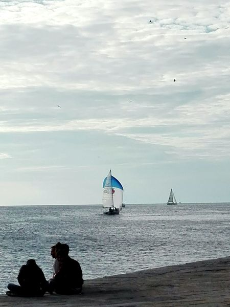Sea Water Sky Rear View Relaxation Sailing No Filter Day Outdoors Tranquility Transportation Trieste Sailboat Calm Waterfront No Filters  Beauty In Nature Smartphonephotography Mode Of Transport Spinnaker Tranquil Scene Nautical Vessel Barcolana2016