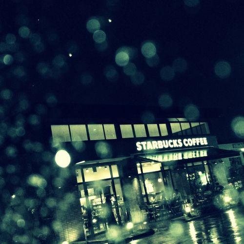 Night Lights Starbucks Rainy Night