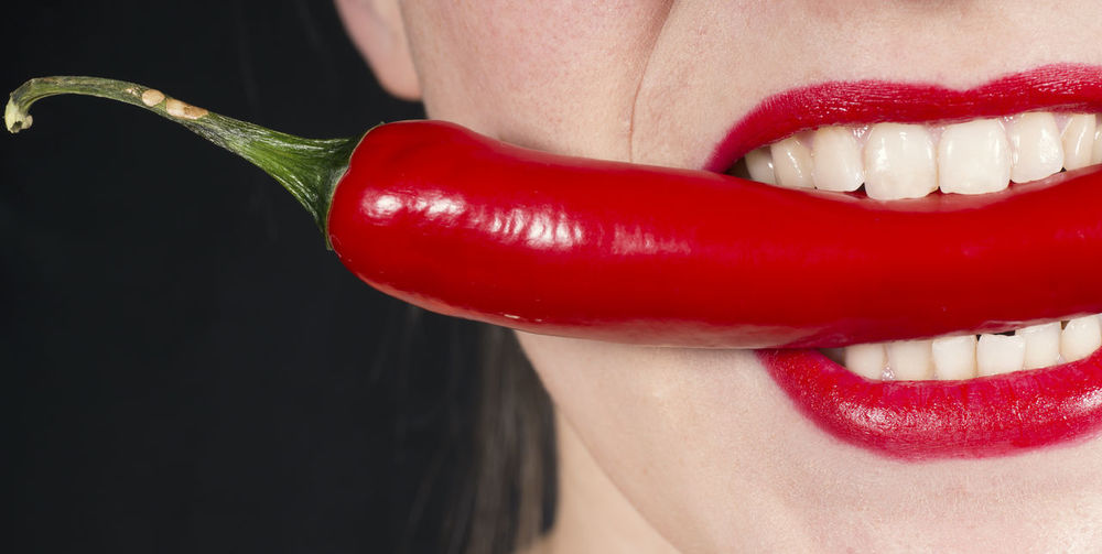 Adult Beautiful Woman Beauty Black Background Body Part Close-up Food Food And Drink Human Body Part Human Face Human Lips Human Mouth Human Teeth Indoors  Lifestyles Lipstick Make-up Mouth Open One Person Red Studio Shot Women Young Adult The Still Life Photographer - 2018 EyeEm Awards