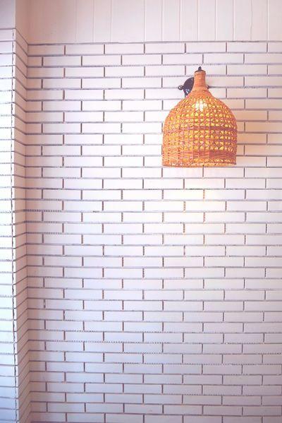 Brick Wall Brick Bricks Cafe Cafe Time Baket Lamp Lamp White Wall Hanging Paper Grid Pattern
