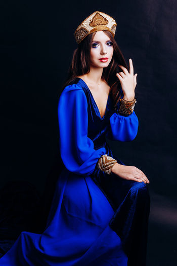 Crown Russia Beautiful Woman Beauty Black Background Blue Colorfull Elégance Fashion Fashion Model Front View Full Length Glamour Medieval Portrait Russian Russian Girl Russian Style Sittting Studio Shot Style Young Women